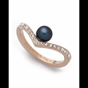 VITA FEDE Black Pearl Gold and Crystal Ring